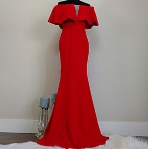 ⚡FLASH SALE-Cherry Red Flounce/Off Shoulder Gown